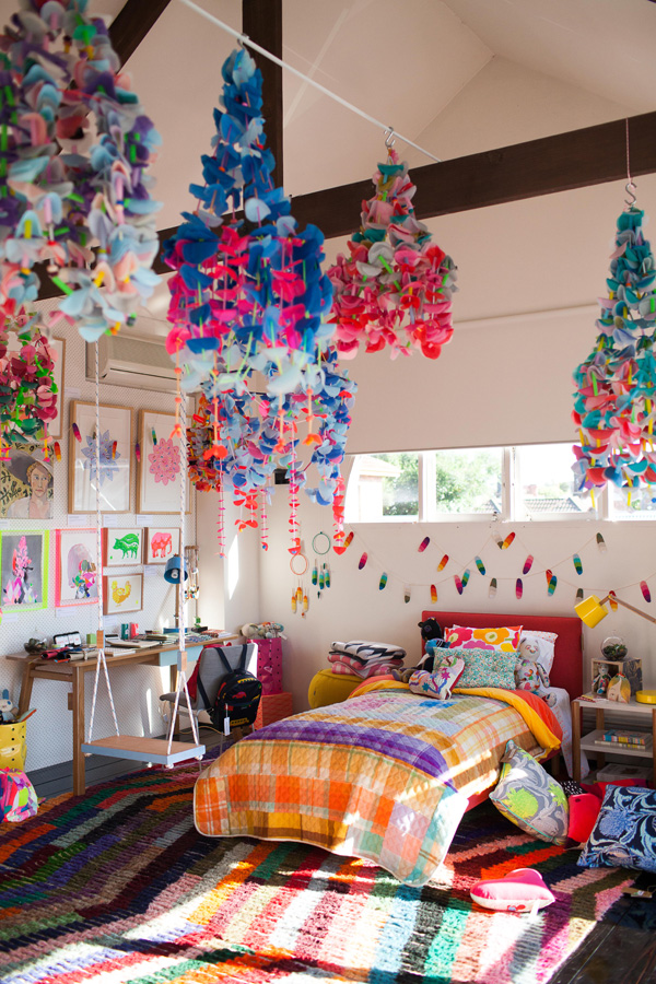 Kids bedroom.  It's MADNESS in there.  Hanging chandelier mobiles by Emily Green.  photo - John Deer.