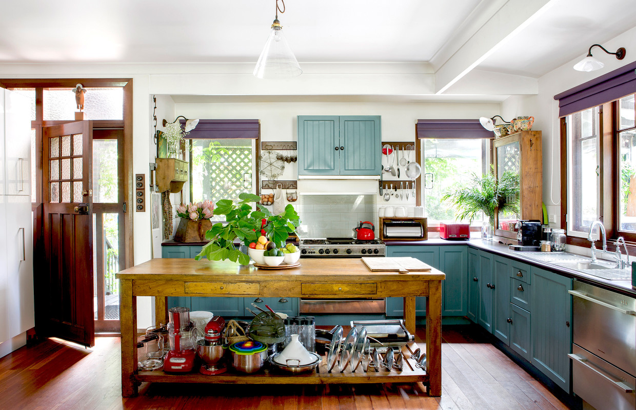 blue painted kitchen vintage style house tour