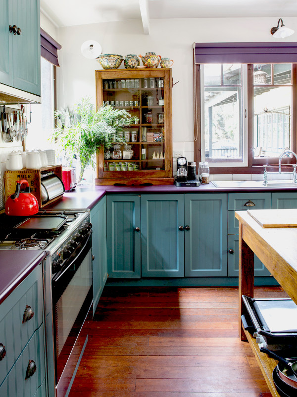 blue painted kitchen cupboards vintage kitchen